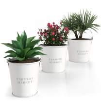 "Barnyard Designs Galvanized Metal Bucket Planter Pails, Indoor or Outdoor Plant Pots, Vintage Farmhouse Flower Holder Decor, White, Largest Measures 7.25"" x 6"", Set of 3"