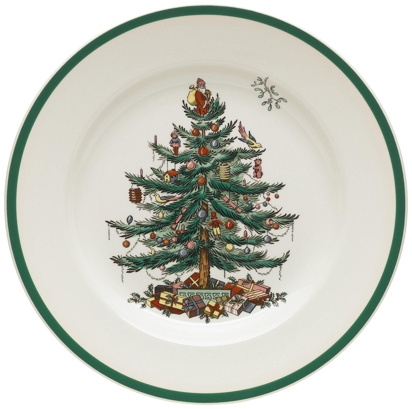 Spode Christmas Tree 10-1/2-Inch Dinner Plates, Set of 4