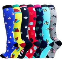 7 Pack 20-30mmhg Copper Compression Socks for Men & Women-Best for Running,Athletic,Medical,Pregnancy and Travel(L/XL-US Women 8-15.5,Men 8-14)