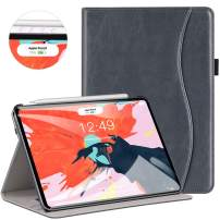 Ztotop for iPad Pro 12.9 Case 2018, Leather Folio Stand Case Smart Cover for 2018 iPad Pro 12.9-inch 3rd Generation (Supports iPad Pencil Charging) with Auto Sleep/Wake Strap Pocket - Dark Grey