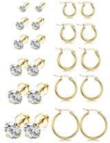 LOYALLOOK 11Pairs Stainless Steel Ear Stud Piercing Hoop Earrings Set Cute Huggie Earrings Cubic Zirconia Cartilage Barbell Stud Earring Screw Flat Back Earrings