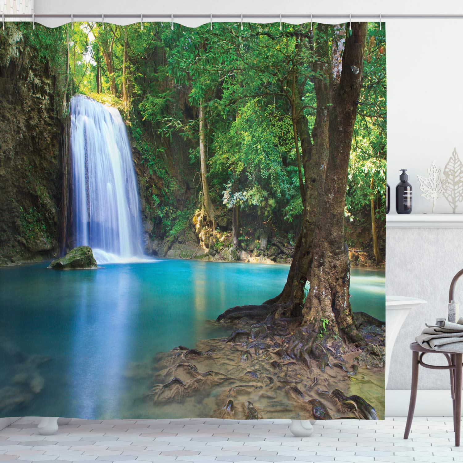 """Ambesonne Woodland Shower Curtain, Waterfall Asia Thailand Jungle Tropic Plants Trees Tourist Attraction, Cloth Fabric Bathroom Decor Set with Hooks, 70"""" Long, Turquoise Blue"""
