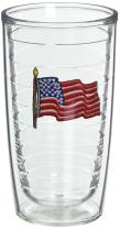 Tervis American Flag Insulated Tumbler With Emblem, 16 oz - Tritan, Clear