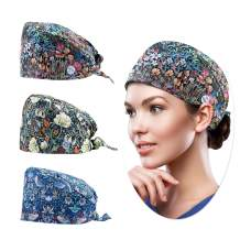 Working Cap with Button and Sweatband for Women, 3 Pcs One Size Head Skull Hats