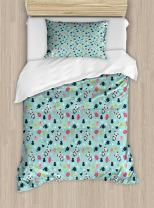 Ambesonne Asian Duvet Cover Set, Panda Bears Koi Fishes Chopsticks Tea and Ricebowl Japanese Far Eastern Illustration, Decorative 2 Piece Bedding Set with 1 Pillow Sham, Twin Size, Pale Blue