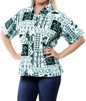LA LEELA Women's Plus Size Hawaiian Shirt Swim Short Sleeves Loose Fit Printed A