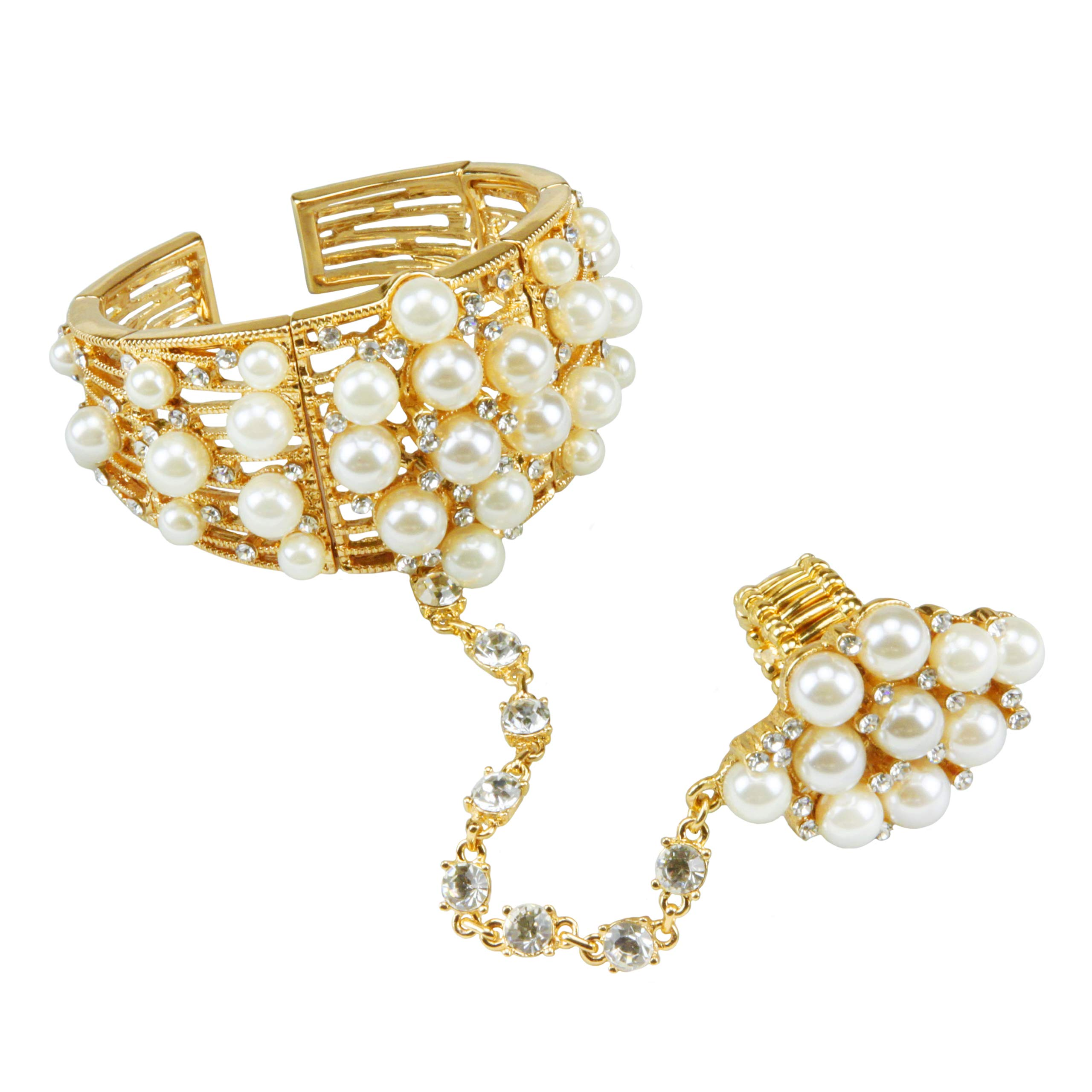 SP Sophia Collection Women's Statement Pearl and Rhinestone Cuff Bracelet Ring Chain Set