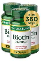 Nature's Bounty Biotin Supplement, Supports Healthy Hair, Skin, and Nails, 120 softgels, 3 count