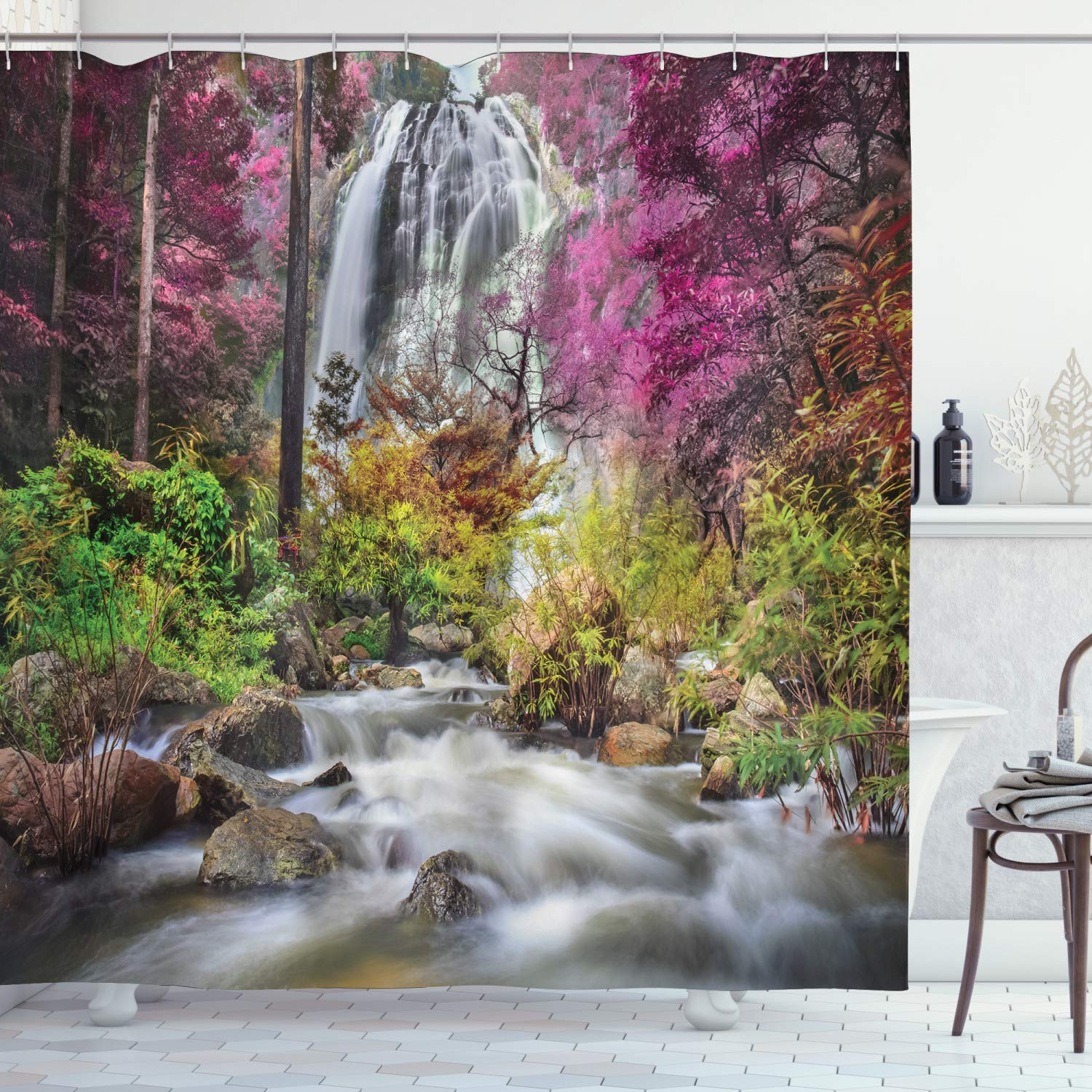 """Ambesonne Waterfall Shower Curtain, Waterfall in Colorful Forest Bushes Feigned Stream Trees Grass, Cloth Fabric Bathroom Decor Set with Hooks, 75"""" Long, Brown Magenta"""