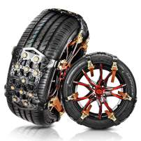 MATCC Tire Snow Chains Anti Slip Tire Chains Safety Emergency Snow Chains Adjustable for Cars SUV Truck on Snow, Ice Road and Mud Sand with Upgrade TPU Width 6.5''-10.8'' (6 Pack for 2 Tires)