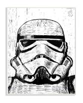 The Stupell Home Décor Collection Black and White Star Wars Stormtrooper Distressed Wood Etching Wall Plaque Art, 10 x 15, Multi-Color