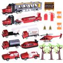 Fire Truck Toys Set with Die-cast Fire Engine Vehicles,Trucks and Road Block Accessories, Mini Rescue Emergency Firetrucks for Kids