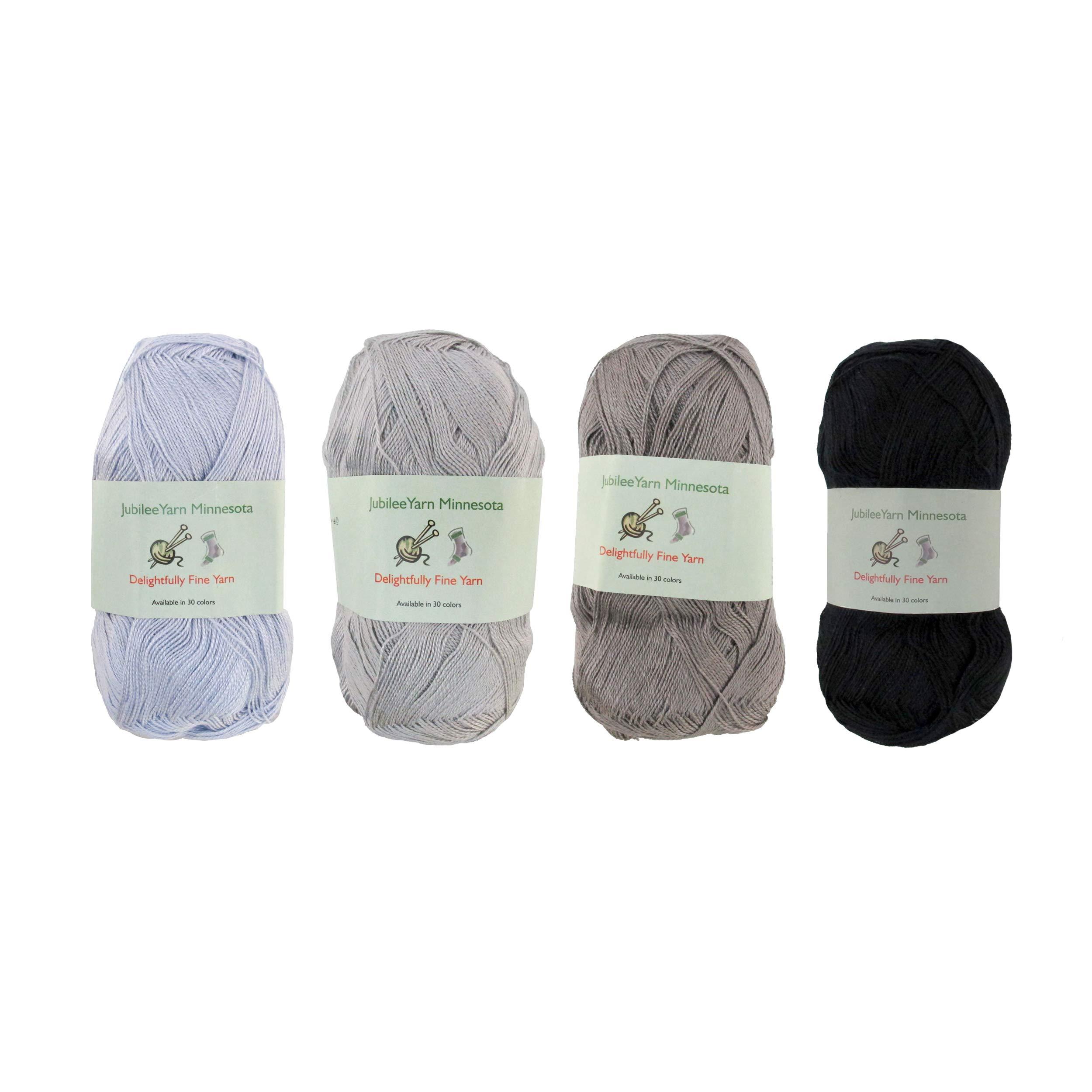 Lace Weight Tencel Yarn - Delightfully Fine - 60% Bamboo 40% Tencel Yarn - 4 Skeins - Shades of Grey Assortment
