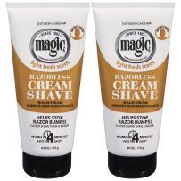 Razorless Shaving Cream for Men by SoftSheen-Carson Magic, Hair Removal Cream, for Bald Head Maintenance, No Razor Needed, 6 Ounce, Pack of 2
