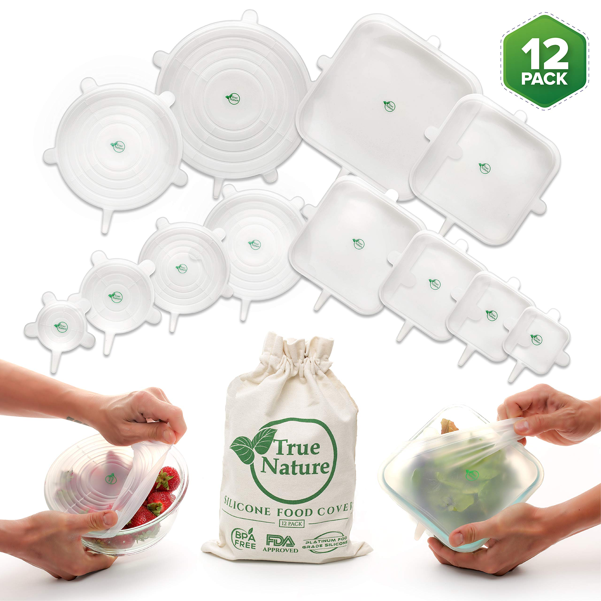 True Nature Silicone Stretch Food Covers 12-Pack | 100% Platinum Food Grade Silicone | BPA-Free | Flexible, Reusable, Durable & Expandable | Eco-Friendly Bowl Lids | Microwave, Oven & Dishwasher Safe