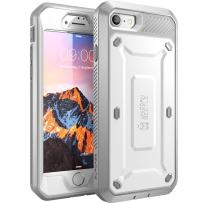 SUPCASE Unicorn Beetle Pro Series Case Designed for iPhone SE 2nd generation (2020)/iPhone 7/iPhone 8, Full-Body Rugged Holster Case with Built-In Screen Protector (White)