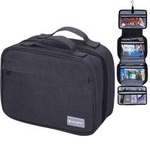 Hanging Travel Toiletry Bag for Men and Women - Large Capacity Cosmetic Wash Bag with 4 Compartments, Perfect for Travel Organize & Daily Use by HOKEMP (Black)