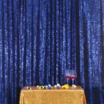Navy Blue PartyDelight Sequin Backdrop Photography and Photo Booth, Wedding, Curtain, 6FTx6FT