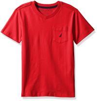 Nautica Boys' Short Sleeve Solid Crew-Neck Pocket T-Shirt