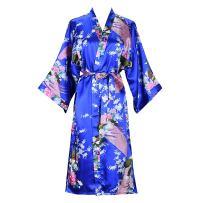 ELLENWELL Women Kimono Robe Silk Pajamas Loungewear Peacock Satin Nightwear
