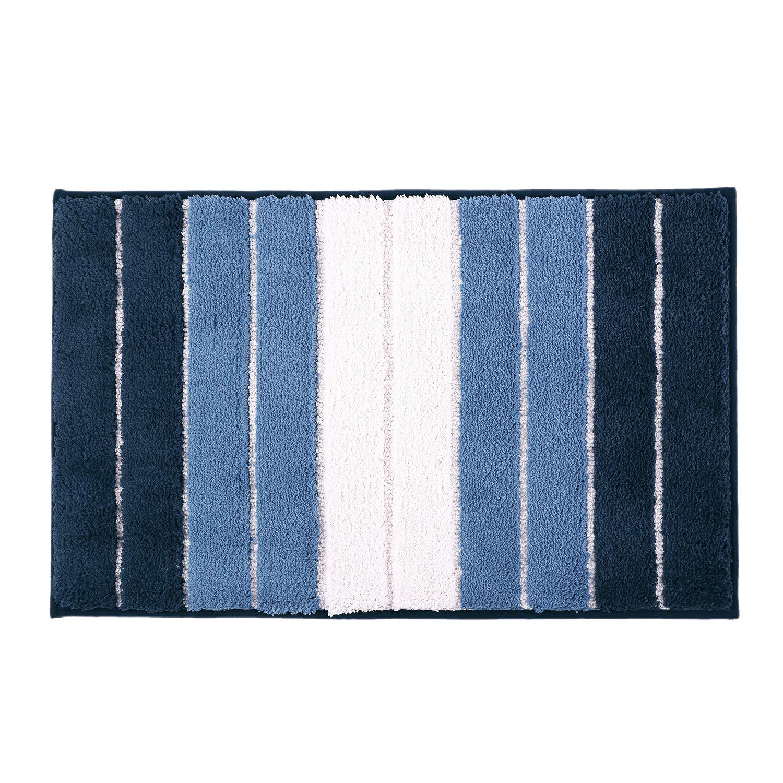 "Pauwer Non Slip Bathroom Rug Mat Super Soft Water Absorbent Microfiber Bath Mat for Bathroom Machine Washable Bath Rug Floor Carpet (20""x32"", Strip Blue)"