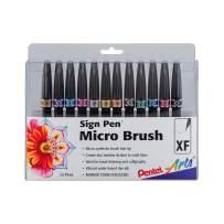 Pentel Arts Sign Pen Micro Brush Tip, Assorted Colors (A/B/C/D/E/F/G/N/P/S/V/Y), 12-PK Plastic Box (SESF30CPC12)