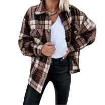 Hixiaohe Women's Vintage Plaid Shirt Jacket Casual Loose Wool Blend Shirt Shacket Coat