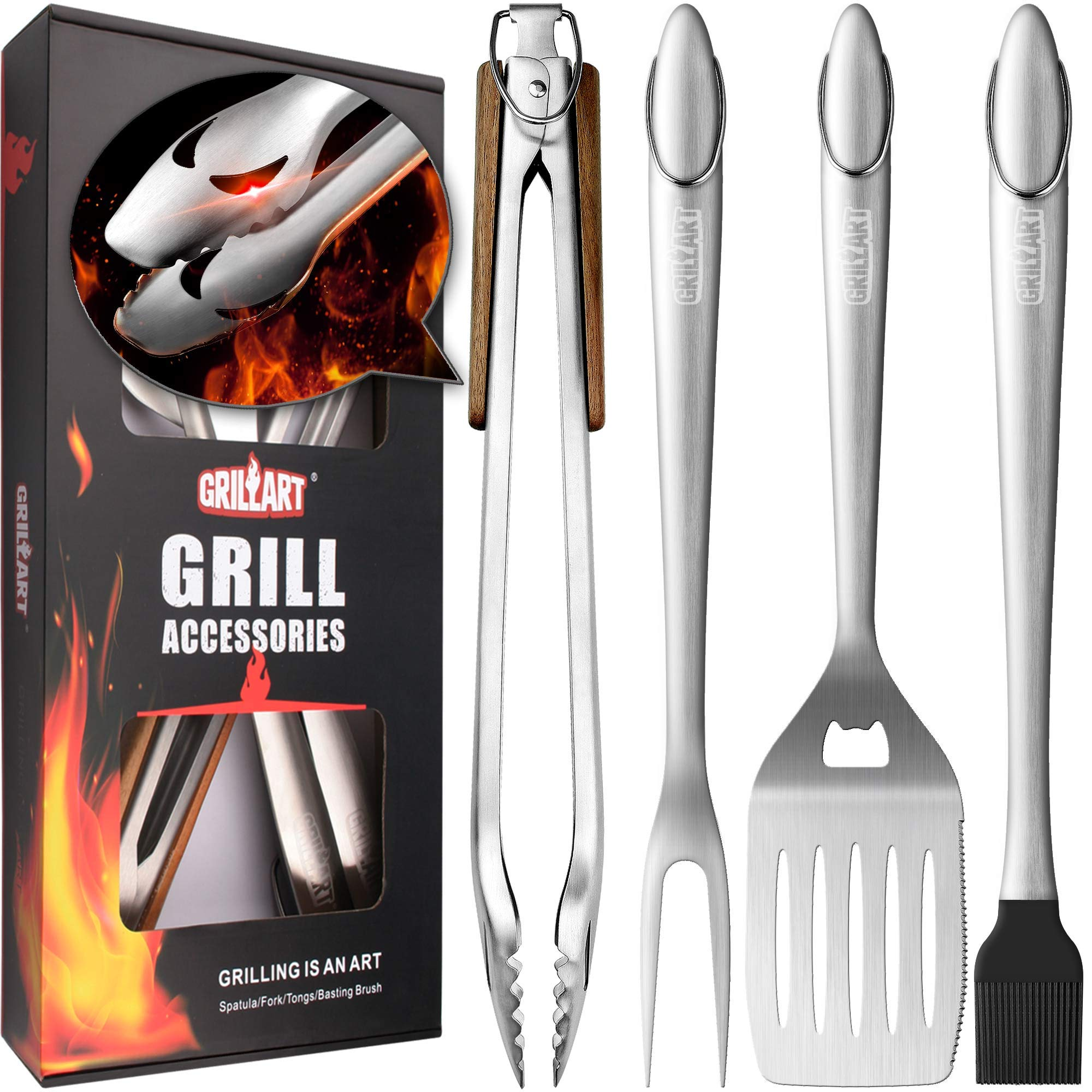 """GRILLART Heavy Duty BBQ Grill Tools Set. Snake-Eyes Design Stainless Steel Grill Utensils Kit - 18"""" Locking Tongs, Spatula, Fork, Basting Brush. Best Barbecue Grilling Accessories, Gift for Men"""
