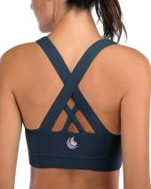 Strappy Sports Bras for Women Padded Sexy Criss Cross Back Yoga Workout Top Bra