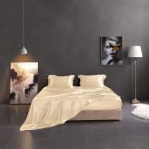THXSILK 19mm Silk Flat Sheet, 1 Flat Sheet ONLY, High End Collection Silk Bed Sheet, Ultra Soft Pure Mulberry Silk Bedding-, Durable (Twin, Champagne)