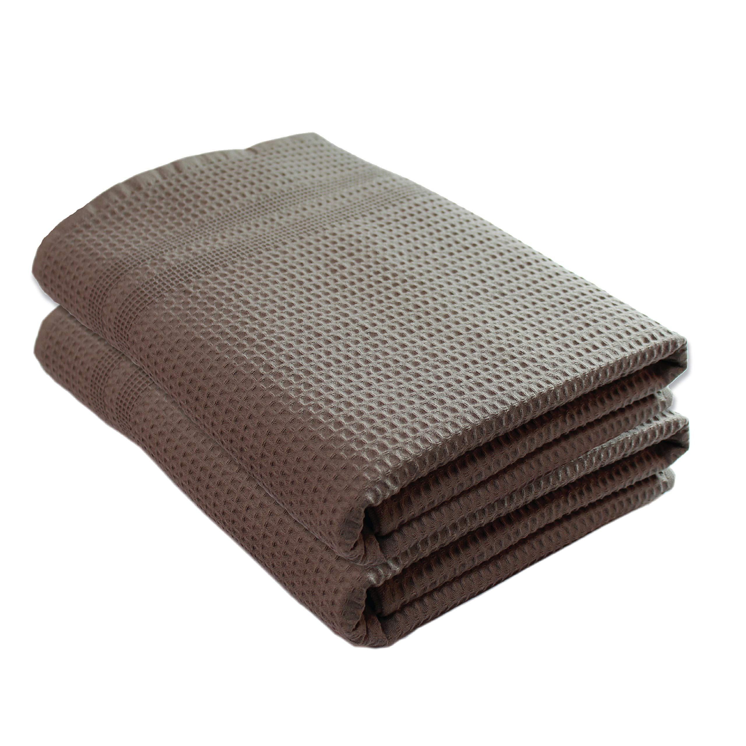 Gilden Tree Premium Bath Towels 2 Pc Set 100% Natural Cotton Quick Dry Waffle Weave Lint Free Soft Luxurious Fabric Solid Colors Oversized Thin Cloth Fade Resistant (Stone)