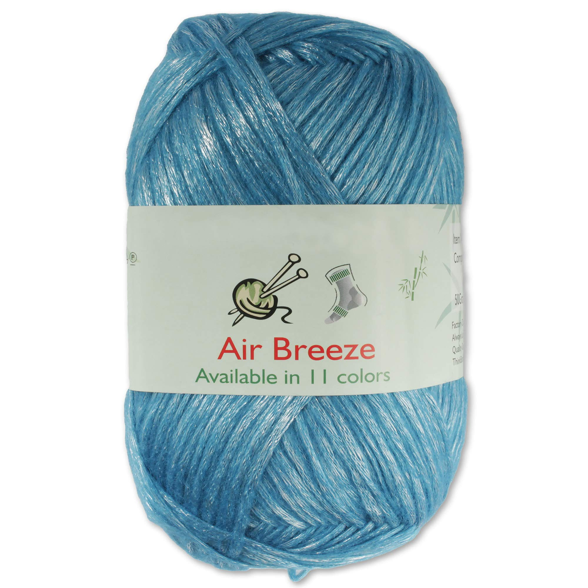 Air Breeze Yarn - Fine Light DK Weight Yarn for Socks, Sweaters, Baby Items - 50g/Skein - Lagoon Blue - 4 skeins