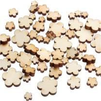 yuhoshop 100 pcs [5 Petal Flower Shape] Mini Mixed Small Wooden Embellishments - Scrapbooking Shapes for Craft Decor Button, 0.5, 0.75, 1, 1.25 & 1.5 cm,V1