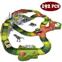 JOYIN Dinosaur Toys 192 Pieces Race Tracks Flexible Train Track Race Car Vehicle Playset with 2 Battery Powered Race Cars and 2 Dinosaur Actions Figures (205 Piece in Total)