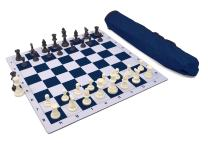 Wholesale Chess Triple Weighted Pieces and Mousepad Board Chess Set (Blue)