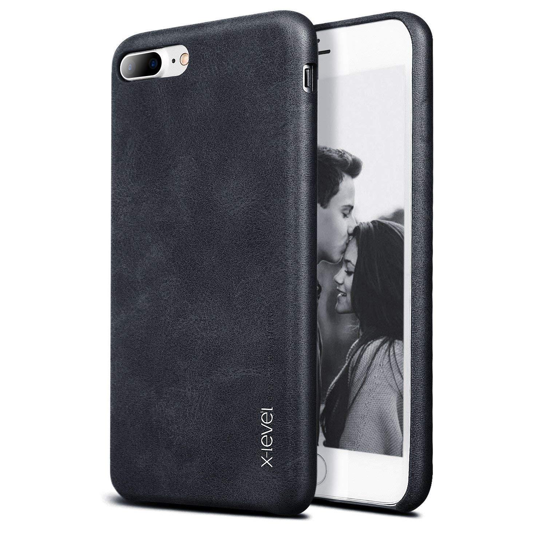 X-level iPhone 7 Plus Case, iPhone 8 Plus Case, Premium PU Leather Case [Vintage Series] Slim Fit Lightweight Soft Back Protective Cover for iPhone 7 Plus(2016) / iPhone 8 Plus(2017) 5.5'' (Black)