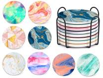 TEUVO Coasters Cork Base Set of 8 with Holder, Colorful Marble Absorbent Coasters for Drinks for Home, Cafe and Office, Housewarming Gift and Apartment Decoration, Set of 8