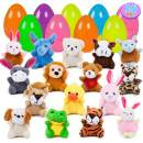 YIHONG 16 Pack Prefilled Easter Eggs with Animal Plush, 3.14Inch Plastic Easter Eggs Filled Toys for Easter Hunts, Basket Stuffers, Easter Party Favor