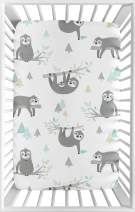Sweet Jojo Designs Blue and Grey Jungle Sloth Leaf Unisex Boy or Girl Baby Nursery Fitted Mini Portable Crib Sheet for Mini Crib or Pack and Play - Turquoise, Gray and Green Botanical Rainforest