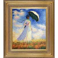 """La Pastiche Woman with a Parasol (Facing Right) with Mediterranean Gold Framed Oil Painting, 34"""" x 30"""", Multi-Color"""