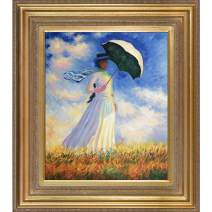 "La Pastiche Woman with a Parasol (Facing Right) with Mediterranean Gold Framed Oil Painting, 34"" x 30"", Multi-Color"