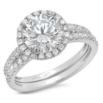 Clara Pucci 2.52 CT Round Cut CZ Pave Double Halo Designer Solitaire Ring Band Set 14k White Gold
