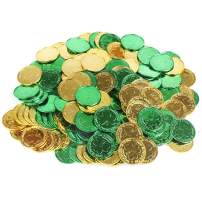 CCINEE St. Patrick's Lucky Coins Plastic Shamrock Leprechaun 3-Leaf Clover Coins for Party Decoration Favors, 144pcs/Gold and Green