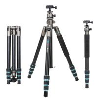 BONFOTO B674A Portable Aluminum Alloy Lightweight Camera Travel Tripod Monopod with Ball Head for DSLR, Bronze Grey