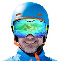 ROGSFN Anti-Fog Ski Goggles for Men Womens Youth Frameless Skiing Goggle Over Glasses,Cool Winter Sport Snowboard Goggles,Helmet Compatible UV Protection