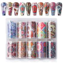 Makartt Nail Art Foil Transfer Stickers Nail Art Supplies Foil Transfers 10 Rolls National Style Nail Decals Nail Extension Gel Art Decoration for Women Poly Nail Gel DIY Design 4cm100cm National Wind