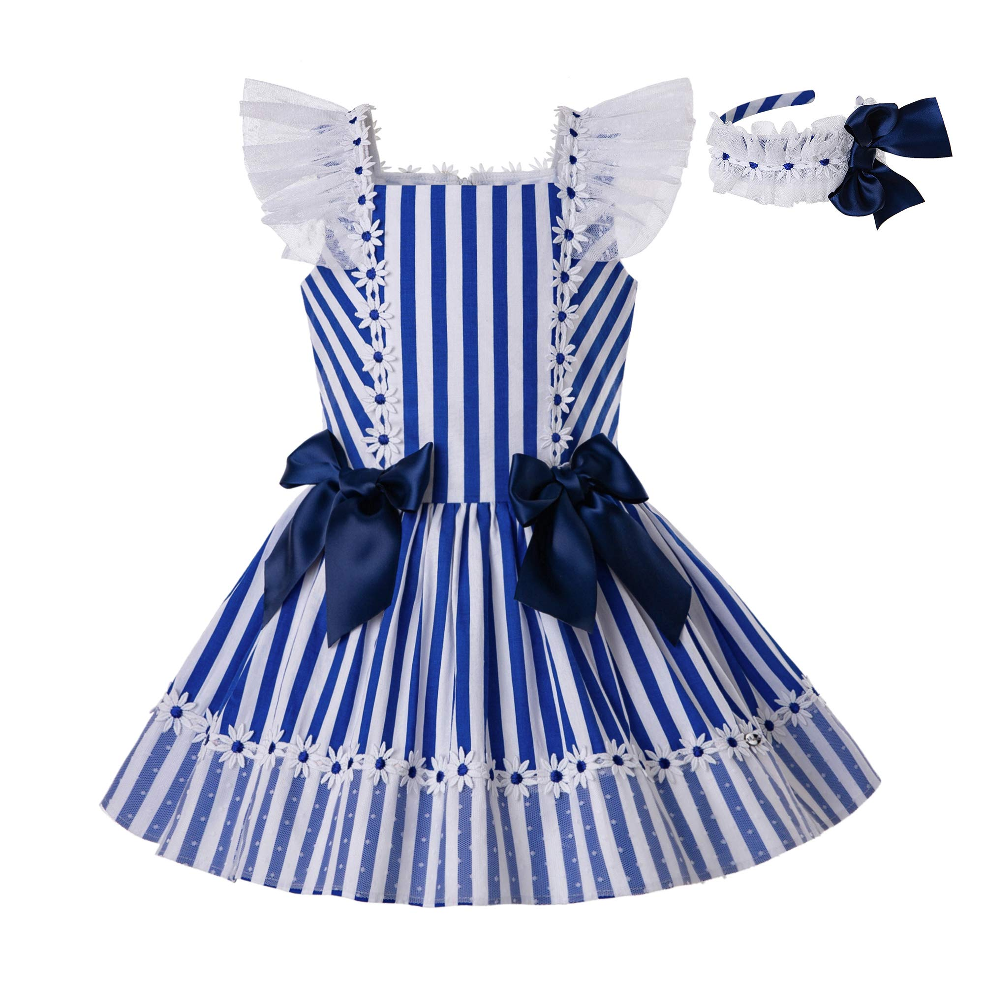 Pettigirl Girls Blue Stripe Floral Wedding Party Dress with Headwear