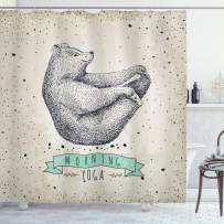 "Ambesonne Yoga Shower Curtain, Contemporary Illustration of Meditating Bear on Vintage Background Calm Life, Cloth Fabric Bathroom Decor Set with Hooks, 75"" Long, Dust Mint"