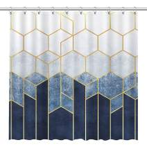Allenjoy Blue Marble Shower Curtain Ombre Blue Gradient Golden Lines Hexagons Patterns Simple Style Bathroom Fabric Decor Durable Bathtub Showers Decor with 12 Hooks, 72x72 Inch