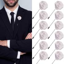 JLIKA Lapel Pins for Men Flower Pin Rose for Wedding Boutonniere Stick Boutineers (Set of 12 PINS) (White)